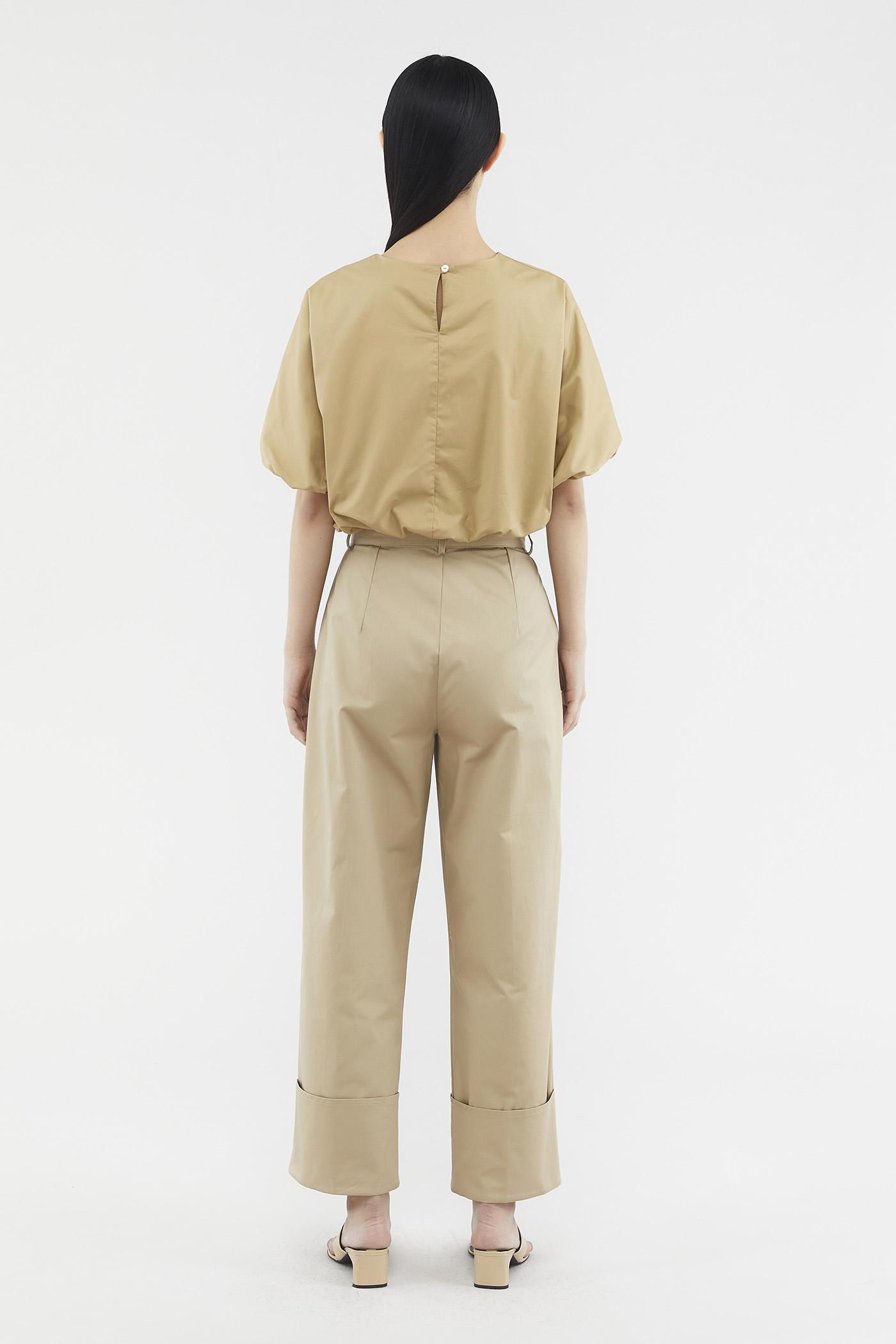 Noemy Folded-hem Pants