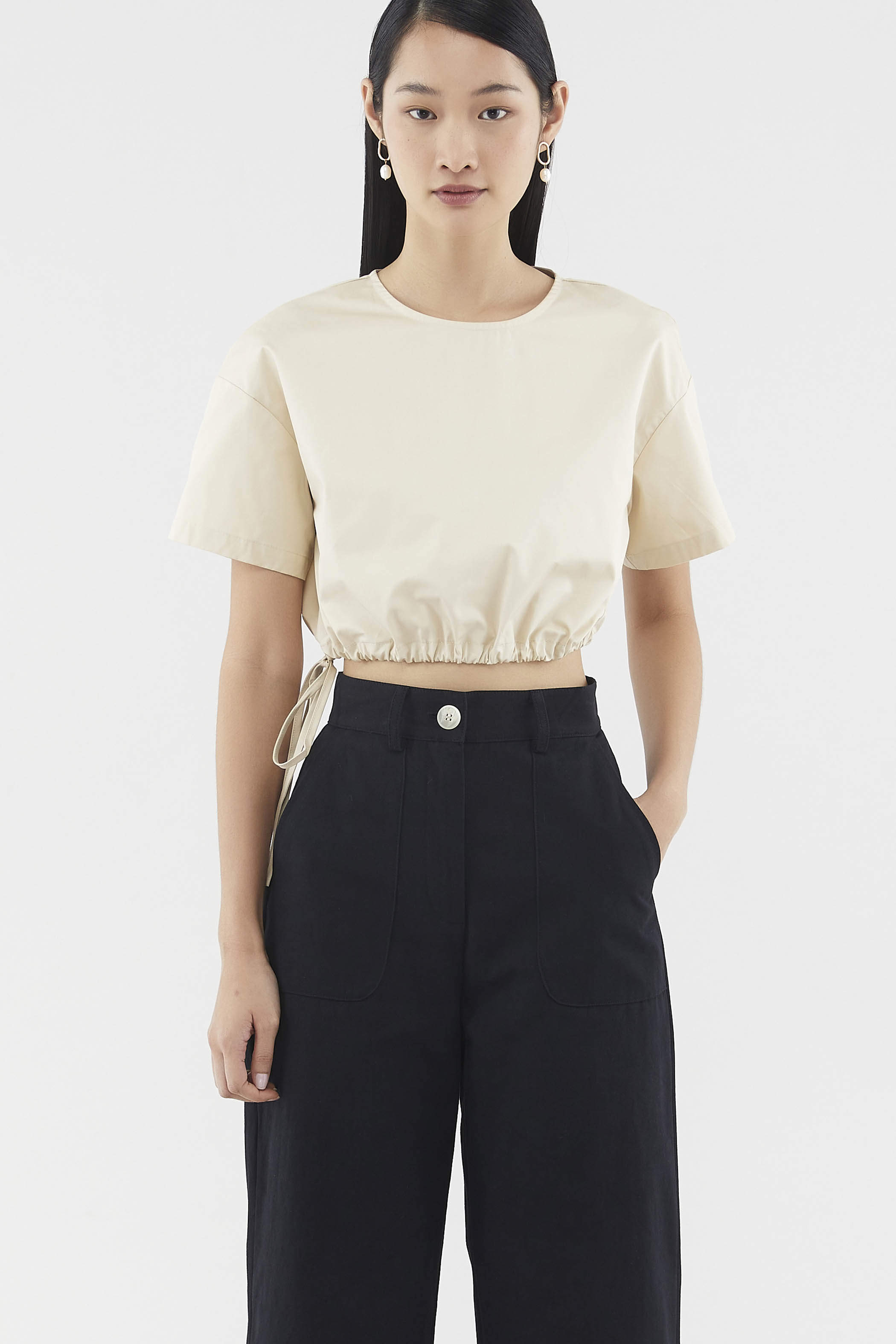 Emmalyn Drawstring Crop Top