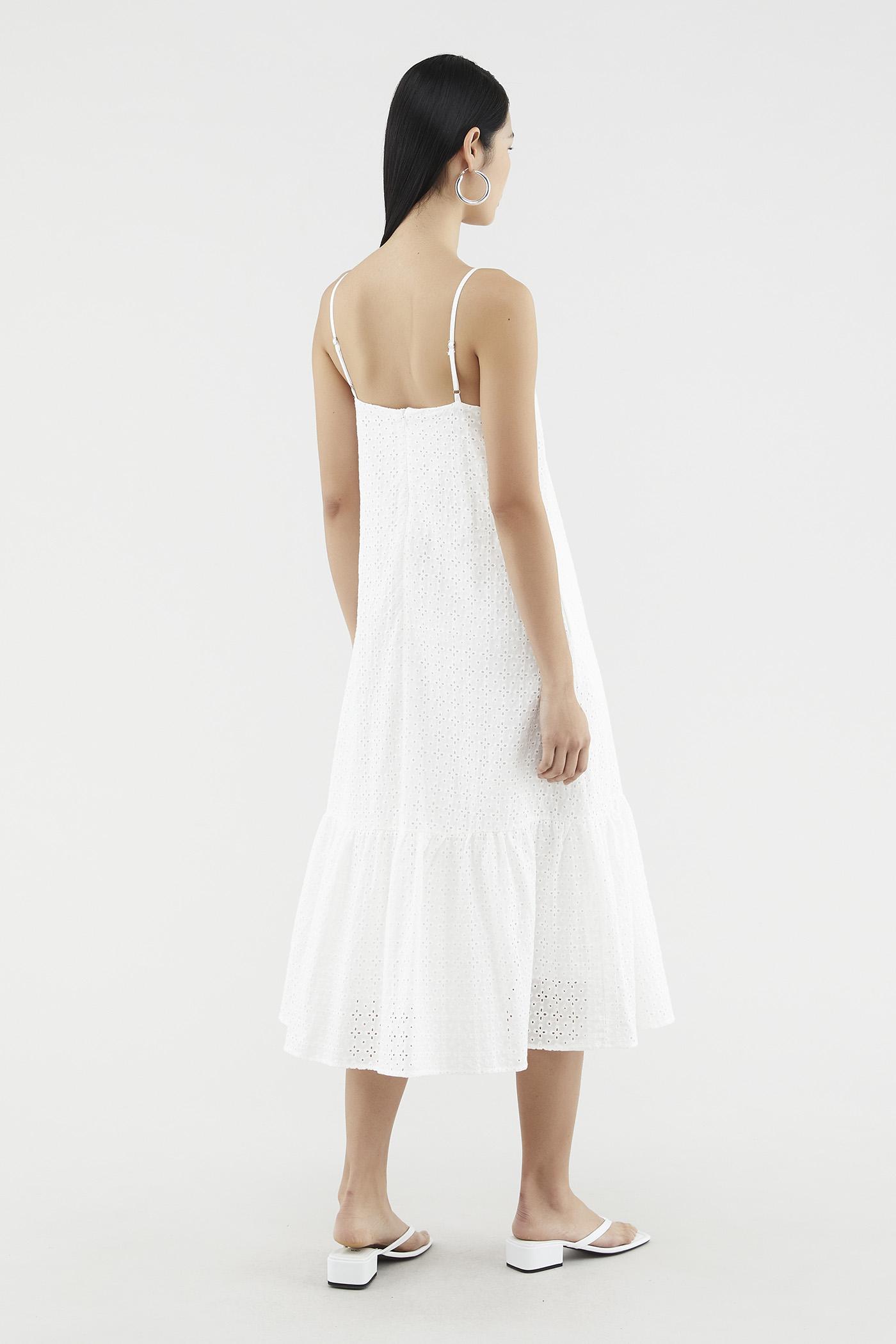 Shaniece Broderie Frill-hem Dress