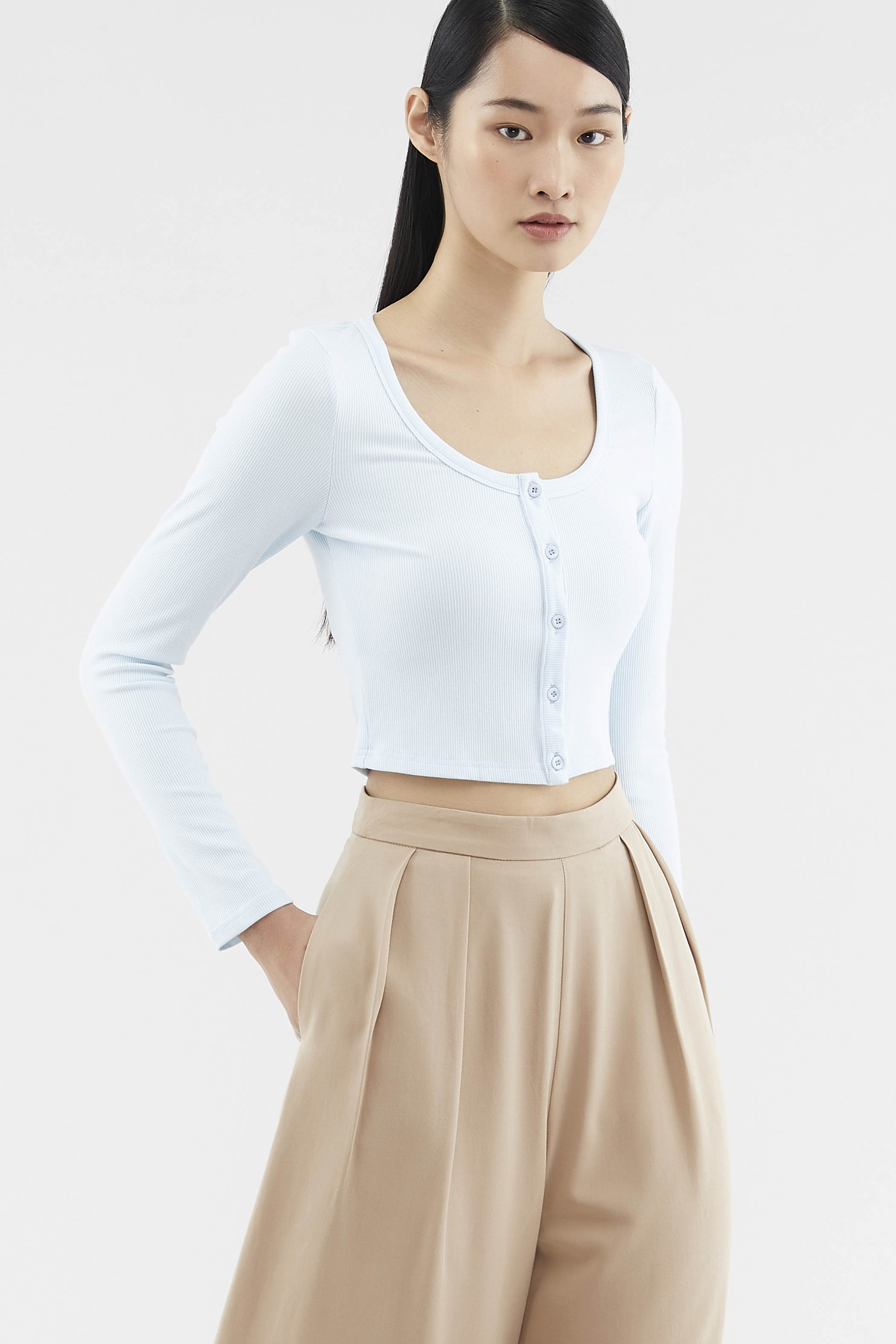 Abarrane Button-through Crop Top