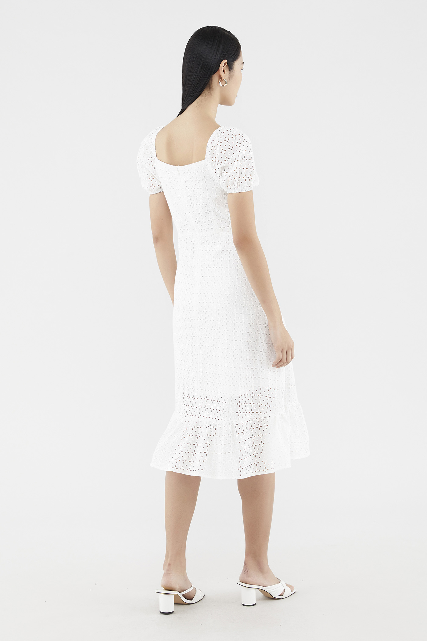 Calley Broderie Puff-sleeve Dress