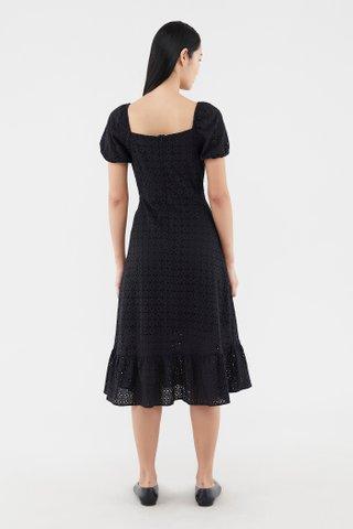 Calley Broderie Puff-sleeve Dress